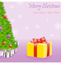 Gift box near Christmas tree vector image
