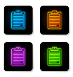 glowing neon clipboard with document icon vector image