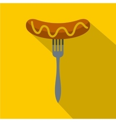 Grilled sausage on a fork icon flat style vector