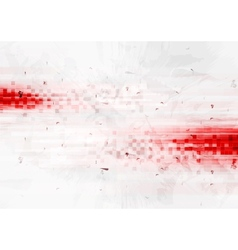 Grunge red hi-tech background with squares vector