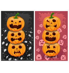 Halloween pumpkins and background set 4 vector