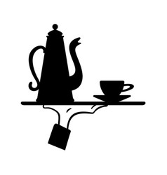 Hand is holding a tray with coffeepot and coffee vector