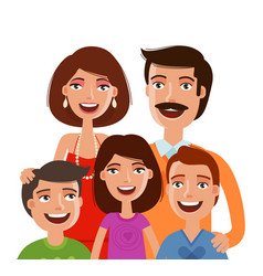 Happy large family portrait people parents and vector