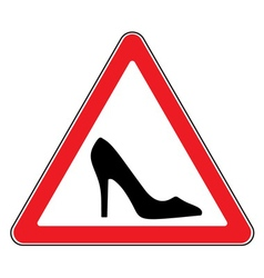 high heel shoes road sign vector image