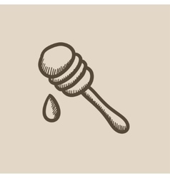 Honey dipper sketch icon vector