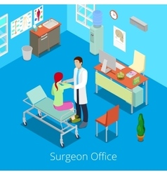 Isometric Surgeon Office with Doctor Patient vector