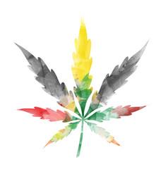 jamaican watercolor marijuana leaf isolated vector image