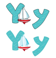 Letter Y yacht vector