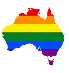 lgbt flag map of australia vector image