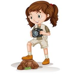 Little girl holding a camera vector