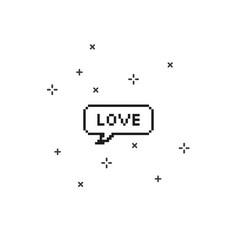 Love in speech bubble 8 bit pixel art vector