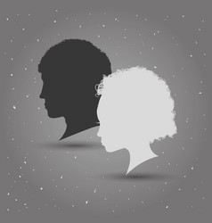 Man and woman heads silhouettes vector