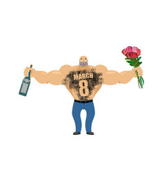 March 8 brutal macho congratulate bottle of wine vector