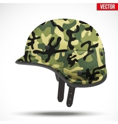 Military modern camouflage helmet side view vector