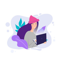 millennial concept girl working with laptop in vector image