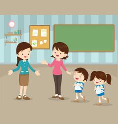 mother sending children to school vector image