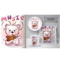 Music bear poster and merchandising vector