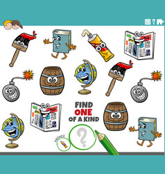 one a kind game for children with object vector image