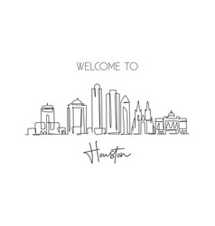 one continuous line drawing houston city skyline vector image