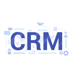 Organization data on work with clients crm vector