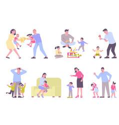 Parenting flat set vector