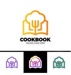 recipe book logo template design in outline style vector image