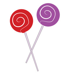 red and purple lollipops on white background vector image