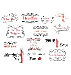 Romantic and Valentines Day headers vector image