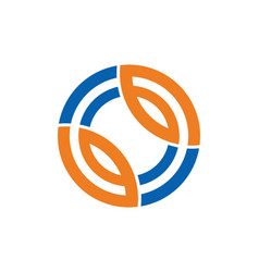 Round technology line connection logo vector