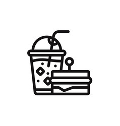 sandwich with drink icon vector image