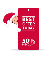 Santa claus elf with promotion sign and discount f vector
