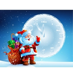 Santa Claus is standing in the snow with a bag of vector
