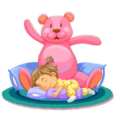 scene with little girl sleeping with pink teddy vector image