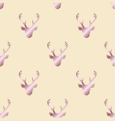 Seamless pattern with rose gold deer heads vector