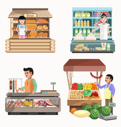 Sellers in various shops colorful poster on white vector