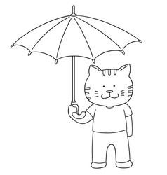 set of cat hold umbrella vector image
