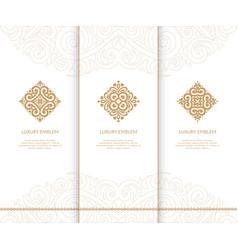 Set of golden diamond emblems vector