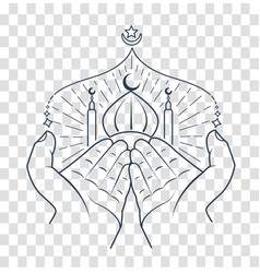 Silhouette hands praying namaz vector