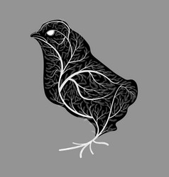 Silhouette of a chick with a texture of a bush vector