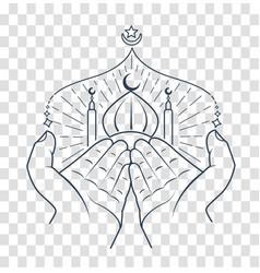 silhouette of hands praying namaz vector image