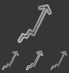 Silver line growth logo design set vector