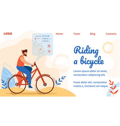 Sportsman riding bicycle with route visualization vector