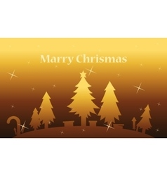 Spruce tree and gift landscape on gold backgrounds vector