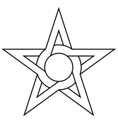 star with circle inside intertwining sides and vector image