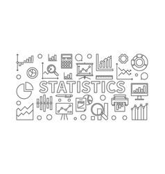 Statistics linear horizontal banner vector