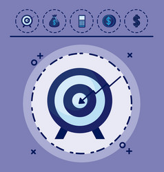 target with set icons economy finance vector image