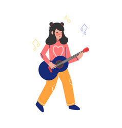 Teen girl playing guitar musical instrument young vector