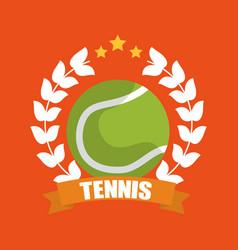 tennis ball wreath laurel banner sport vector image