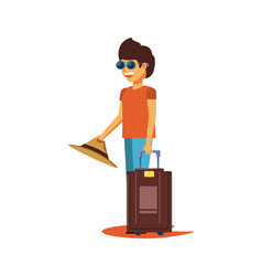 tourist man with suitcase avatar character vector image