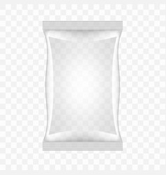 Transparent food snack plastic pillow bag vector